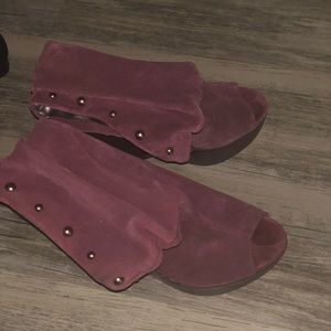 Shoes - Burgundy Suede Wedges